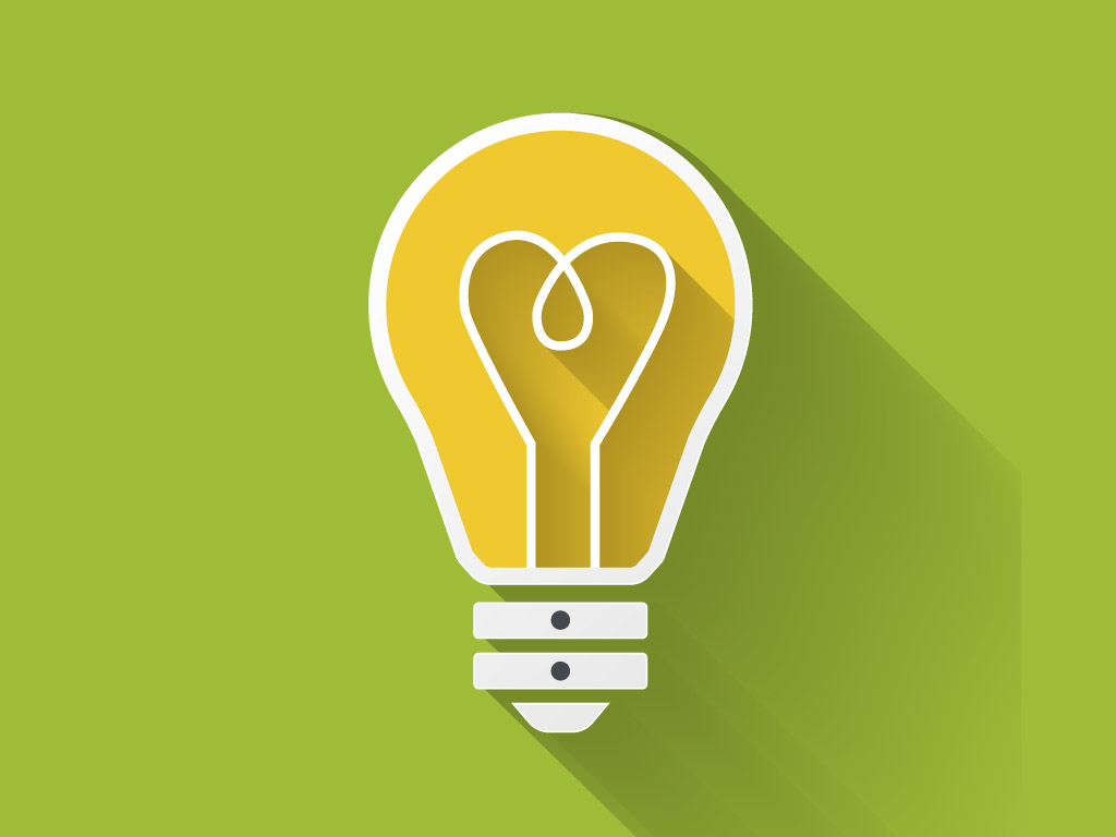 a cartoon light bulb infront of a green background