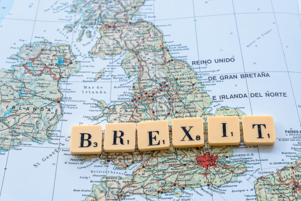 brexit words on top of UK map