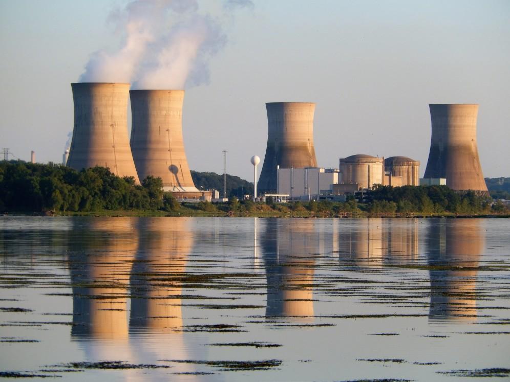 nuclear power plant near lake